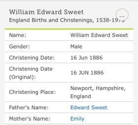 William Edward Sweet, Baptism