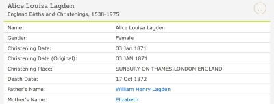 Alice Louisa Lagden, Christening-2