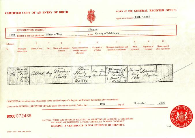 Alfred Kirby birth certificate