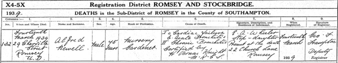 Alfred Newell Death Certificate