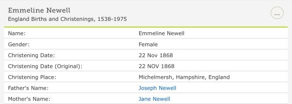 Emmeline Newell, Christening