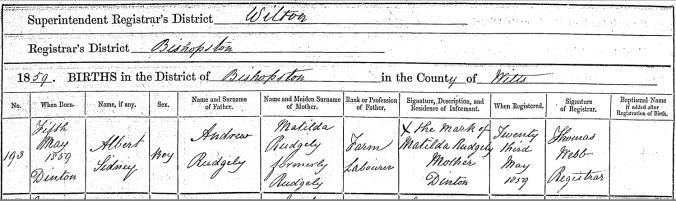 Albert Sidney Rudgely, Birth Certificate
