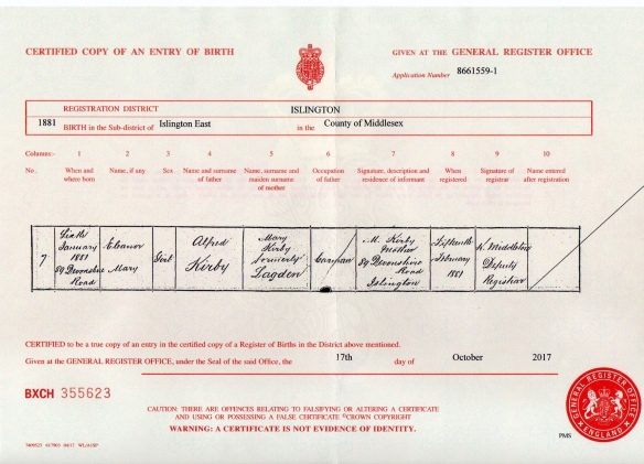Eleanor M Kirby Birth Certificate