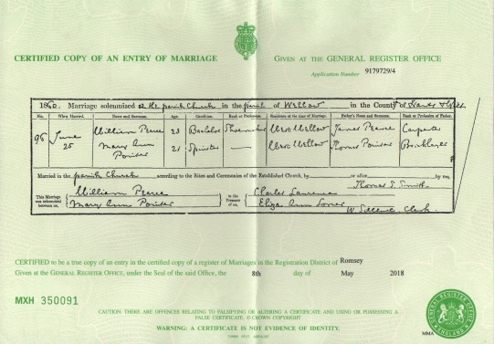 William Pearce And Marry Ann Pointer, Marriage Certificate