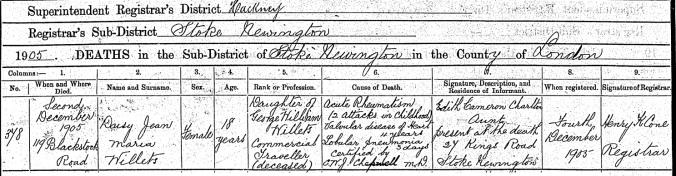 Daisy Jean Maria Willats, Death Certificate
