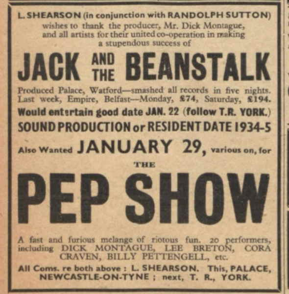 11 January 1934 - The Stage - London