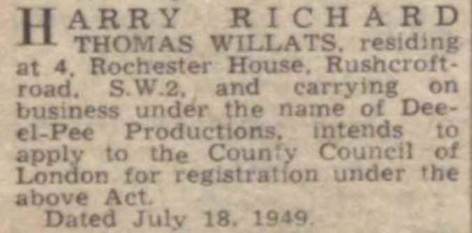 The Stage Newspaper - 28th July 1949.