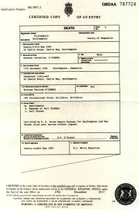 Brennan O'Connor death cert