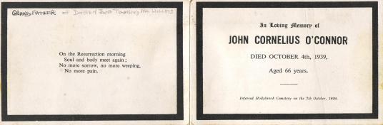 John O'Connor Death Card