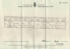 Dorothy Rose Emily O'Connor Birth Certificate