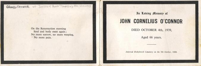 John O'Connor Death Card
