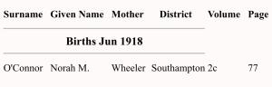 Norah M O'Connor birth Index